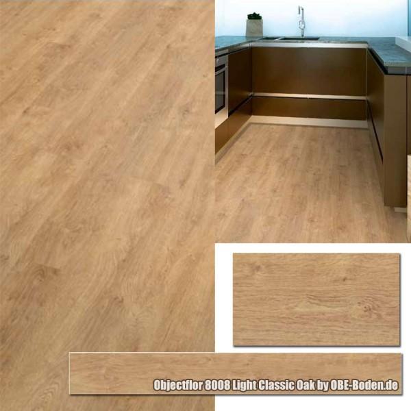 Objectflor Living+ Vinylboden, Designboden, Klebevinyl 8008 Light Classic Oak auf DeinBoden24.de
