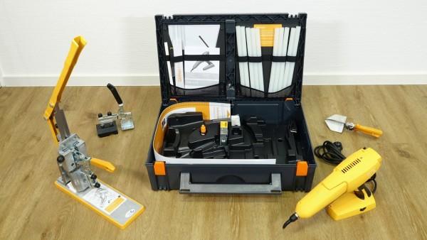 Döllken Koffer mit elektronischer Schmelzklebepistole HKP 2.0, Stanze, Streifenschneider Schere